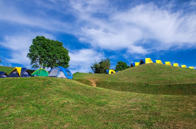 Tent camping on green hill