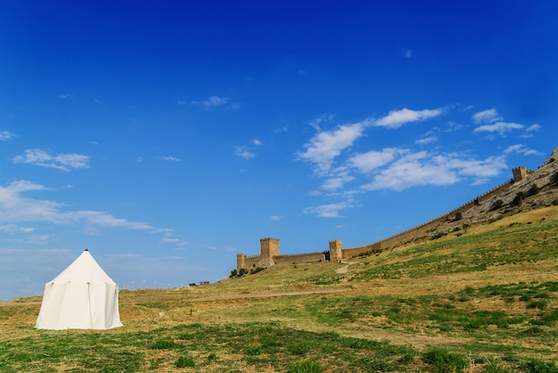 Tent on the green grass against an ancient fortress