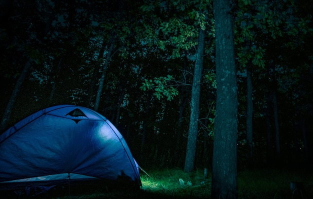 Палатка в ночном лесу