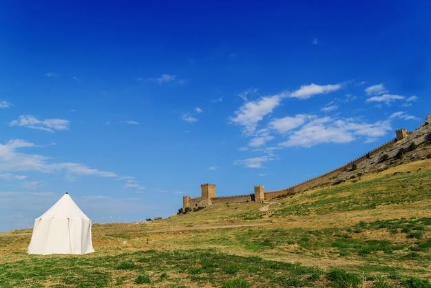 Палатка на зеленой траве против древней крепости