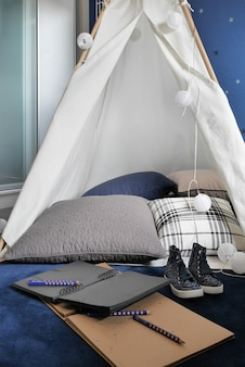 Tent style homework area in the living room