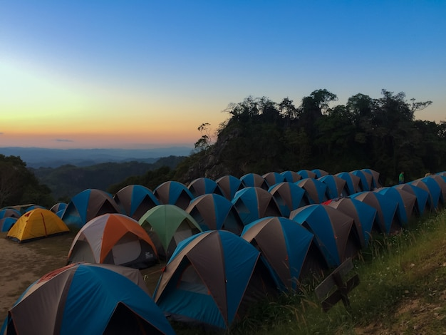 Tent of traveler on the mountain