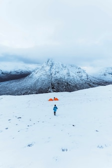 Tents at a snowy mountain