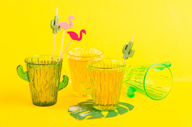 Tequila in cactus glass with limes