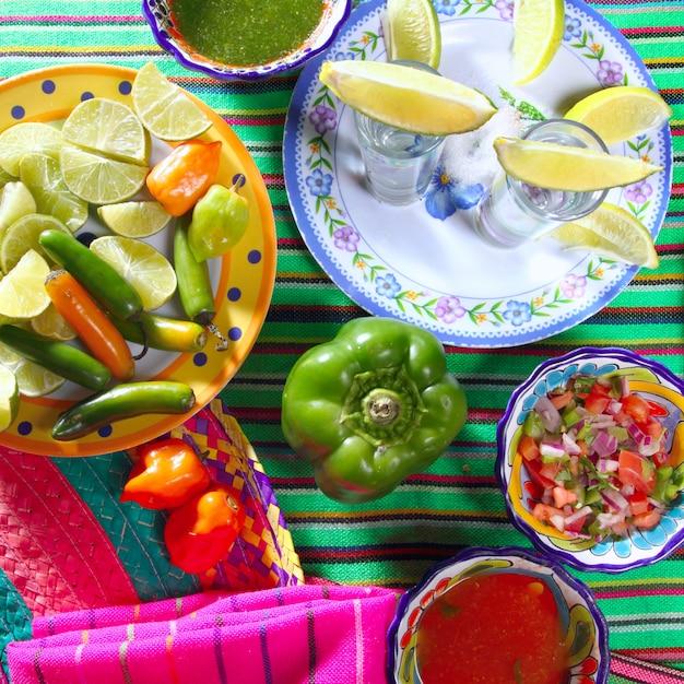 Tequila salt lemon mexican chili sauces pepper