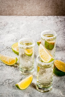 Tequila shots with lime and salt