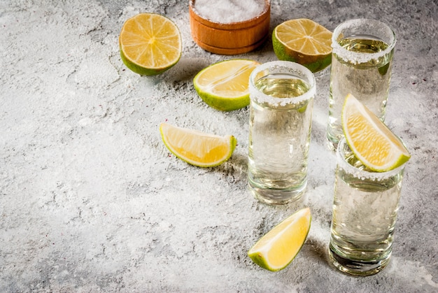 Tequila shots with lime and sea salt
