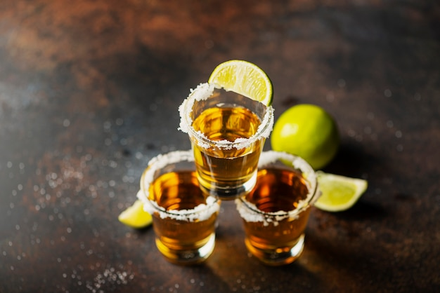 Tequila shots with lime
