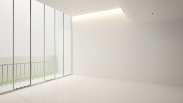 Белая пустая комната и балкон для художественных работ, terior 3d