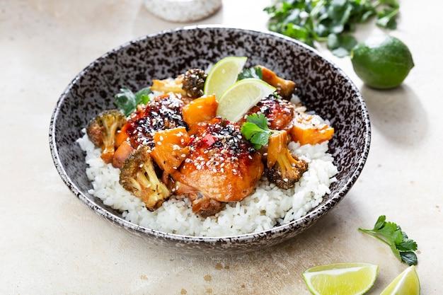 Teriyaki chicken and broccoli stir fry with lime rice