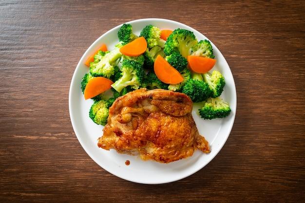 ブロッコリーとにんじんの照り焼きチキンステーキ