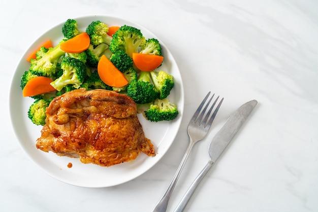 Teriyaki chicken steak with broccoli and carrot