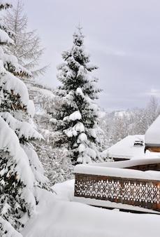Terrace after snowfall
