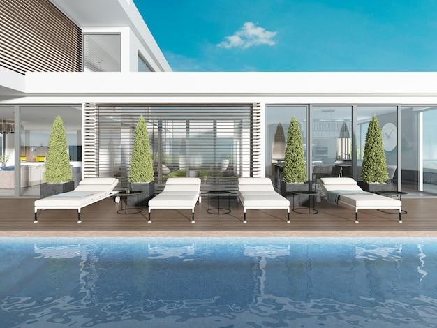 Терраса у бассейна с шезлонгами возле современного дома. 3d рендеринг