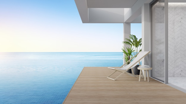 Terrace near living room and swimming pool in modern beach house or luxury villa