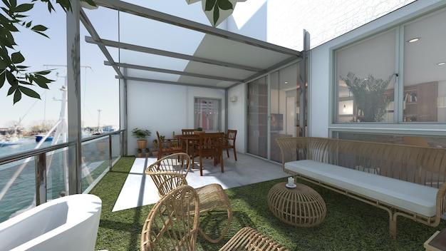 Terrace overlooking the port 3d project render