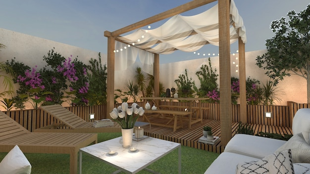Terrace with gazebo and relaxation area for sunbathing