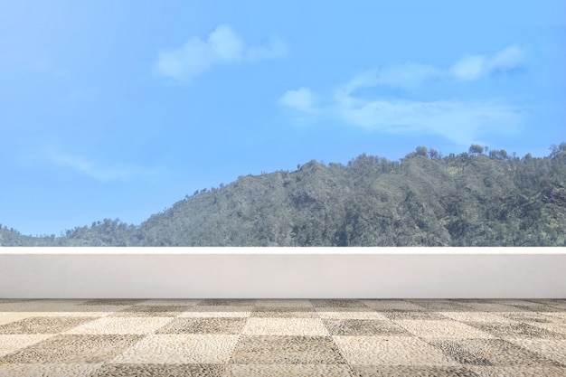 Terrace with green hills view and blue sky