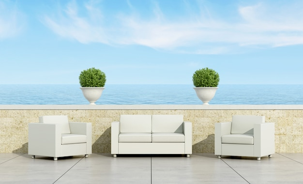 Terrace with white sofa and armchairs