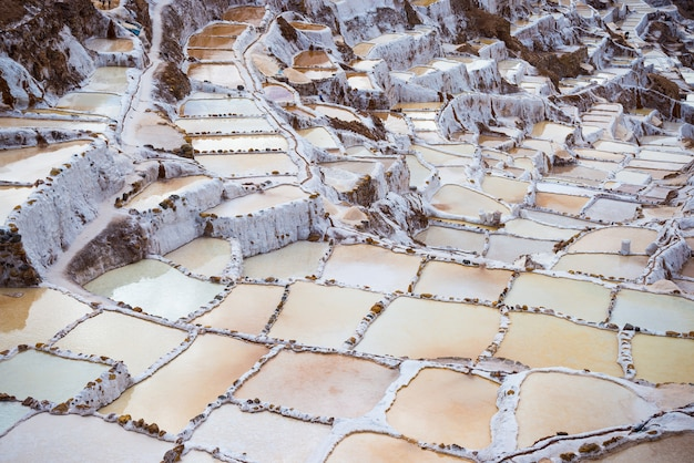 Terraced salt basins on the peruvian andes