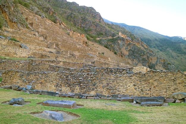 The terraces of pumatallis inside ollantaytambo incas citadel, urubamba province, cusco region, peru