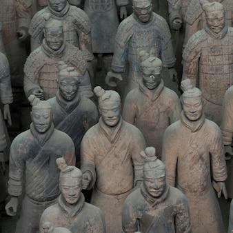 Terracotta warriors army museum、西安、中国のテラコッタ戦士像。