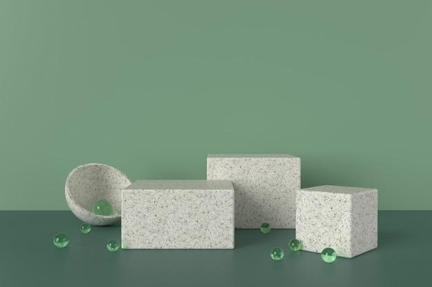 テラゾブロックは、緑の雰囲気とガラス玉、3dイラストで立っています