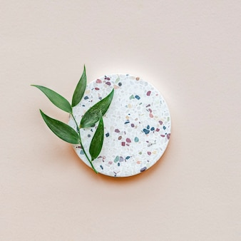 Terrazzo dish on a pastel background
