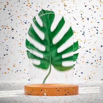 열대 몬스테라 식물 배경 3d 렌더에 있는 테라조 대리석 연단 무대
