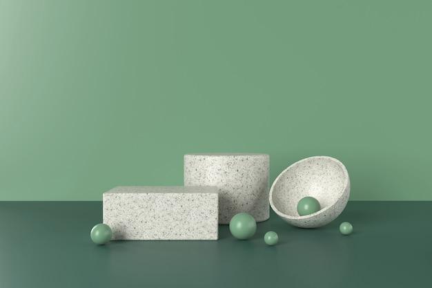 緑の雰囲気のテラゾ表彰台3dイラスト