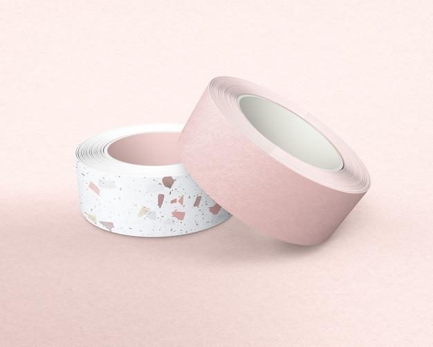 분홍색 배경에 테라조 와시 테이프