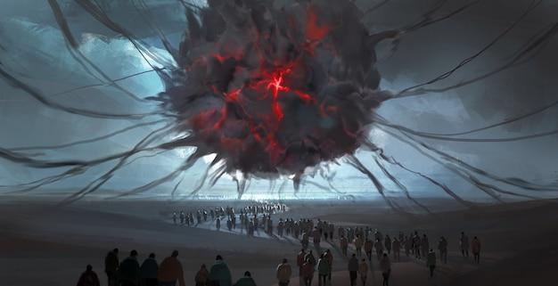 Terrible fantasy scenes, digital illustrations.