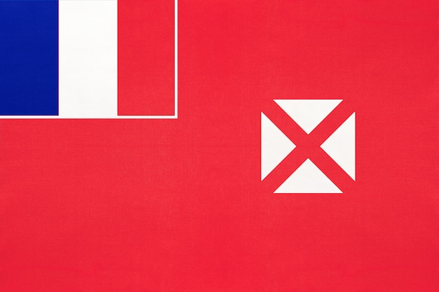 Territory of the wallis and futuna islands national fabric flag, textile background.