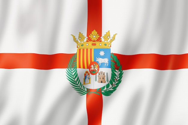 Teruel province flag, spain waving banner collection. 3d illustration