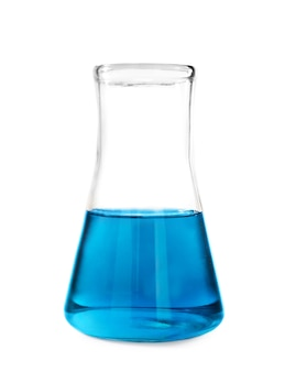 Test flask with blue liquid on white background