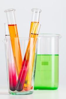 Test flasks with color samples on light grey