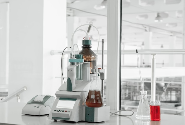 Test laboratory and measuring instruments at the plant for the production and processing of plastics