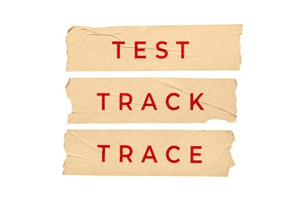 테스트 추적 추적 개념. 텍스트 흰색 배경에 고립 된 테이프 스티커