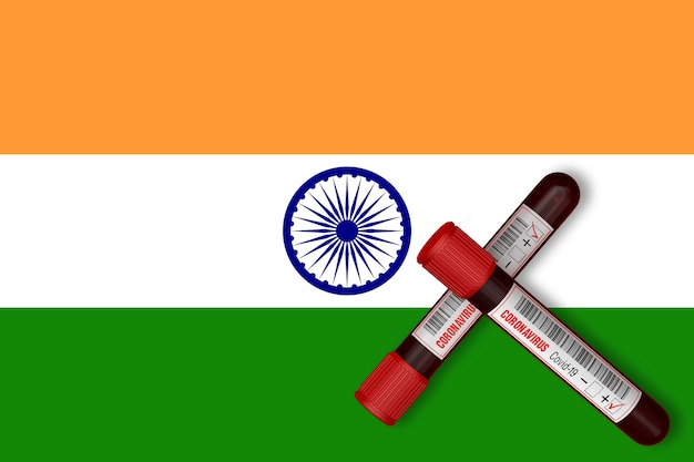 Test tubes with the inscription 2019-ncov on the background of the india flag. 3d rendering