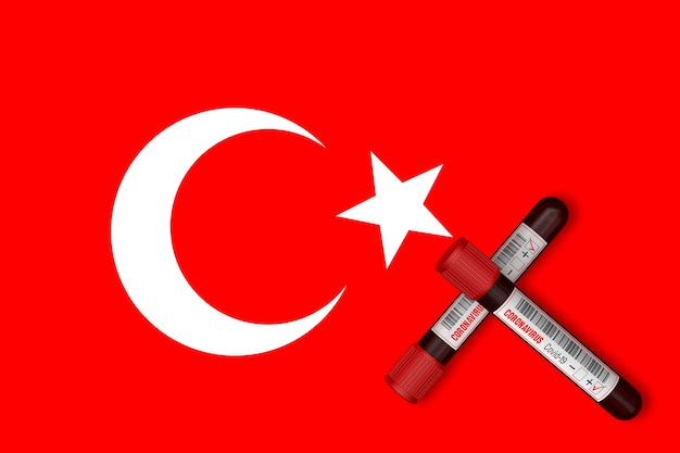 Test tubes with the inscription 2019-ncov on the background of the turkey flag. 3d rendering