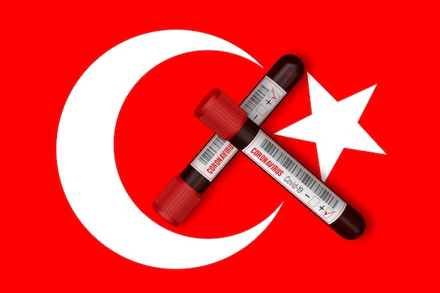 Test tubes with the inscription 2019ncov on the background of the turkey flag 3d rendering