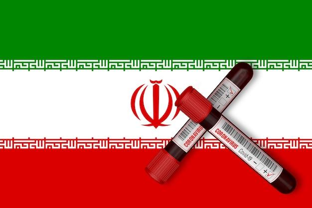 이란 국기의 배경에 2019-ncov가 새겨진 시험관. 3d 렌더링