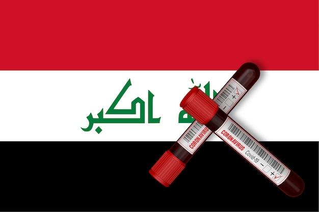 이라크 국기 배경에 2019-ncov가 새겨진 시험관. 3d 렌더링
