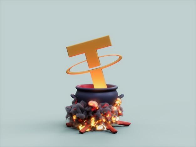 테더 가마솥 화재 요리사 암호화 통화 3d 그림 렌더링
