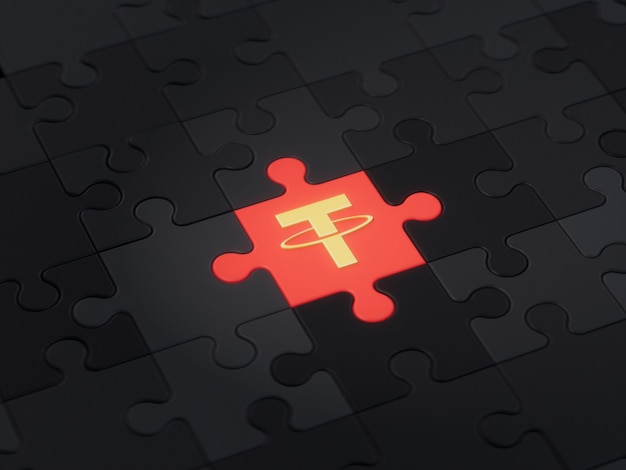 Tether different unique jigsaw puzzle piece crypto currency 3d illustration concept render
