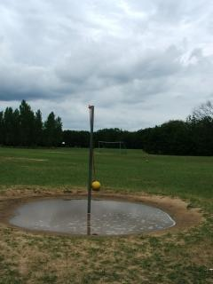 Tetherball after a rain