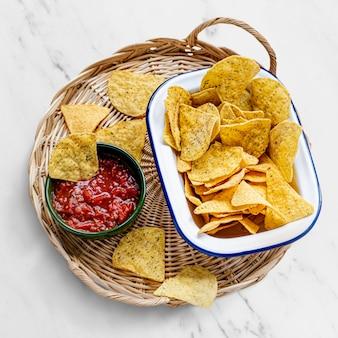 그릇에 텍스 Mex 옥수수 토틸라 칩 무료 사진