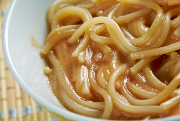 Tex-mex fideo soup.mexican version of past.mexican pasta with vegetables and chile