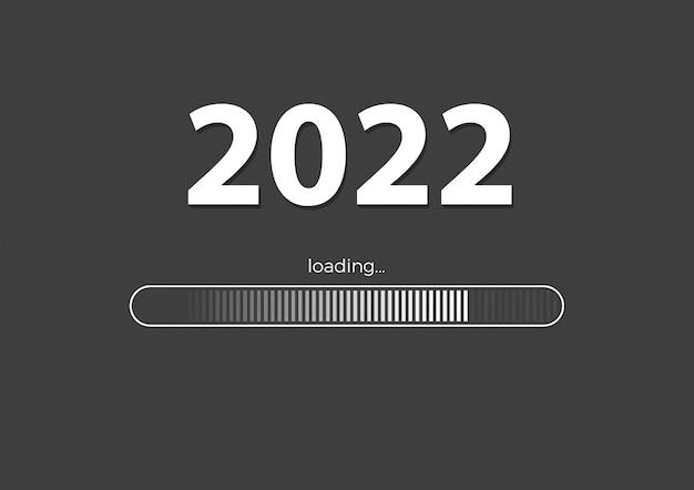 텍스트 - 회색 배경의 2022 로드 및 로드 막대, 새해 배경 개념, 계절 전단지, 배너, 스티커 및 인사말 카드