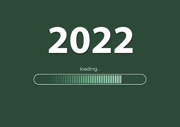 텍스트 - 녹색 배경의 2022 로드 및 로드 막대, 새해 배경 개념, 계절 전단지, 배너, 스티커 및 인사말 카드